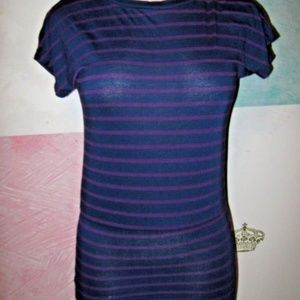 Navy Blue Purple Stripe Drop Waist Stretch Dress S